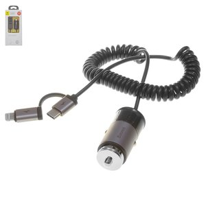 Автомобільний зарядний пристрій Baseus F629 1, 12 В, USB вихід 5В 2,4А , сіре, #CCALL EL0G