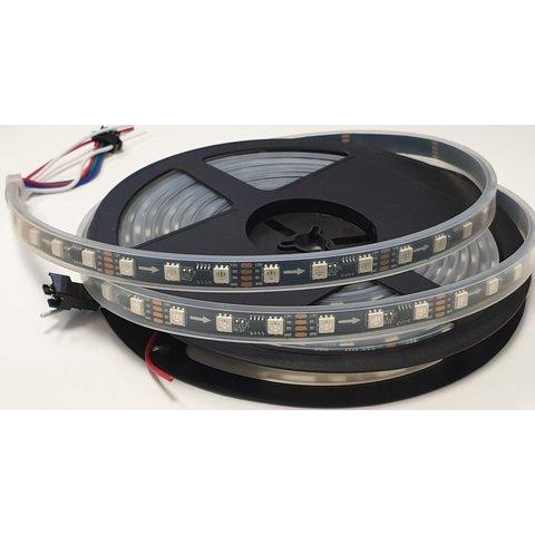 Світлодіодна стрічка RGB SMD5050, WS2818 чорна, з управлінням, IP67, 12 В, 60 діодів м, 1 м